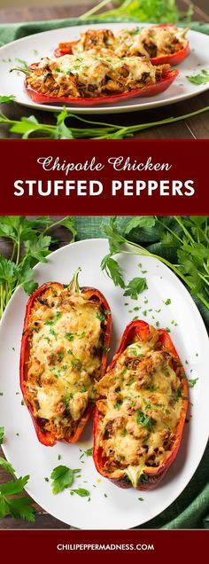 Chipotle Chicken Stuffed Peppers - A recipe for large chili peppers sliced in half, stuffed with a slow cooked shredded chicken with chipotles in adobo sauce, then topped with cheese and baked to perfection. It's time for dinner!