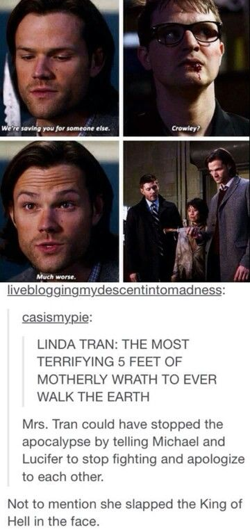 hehe. I could see that. She walks up to the two archangels and slaps them and starts chastising them and the Winchesters are about to stop her but then realize that the 2 archangels are simply staring at her in confusion and before Michael can kill her Lucifer stops him and says sorry and this would be so fucking cute I might have to write a fic.