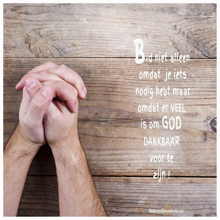 Bid niet alleen omdat je iets nodig hebt, maar omdat er veel is om God dankbaar voor te zijn.  #Bidden, #God  http://www.dagelijksebroodkruimels.nl/bid-omdat/