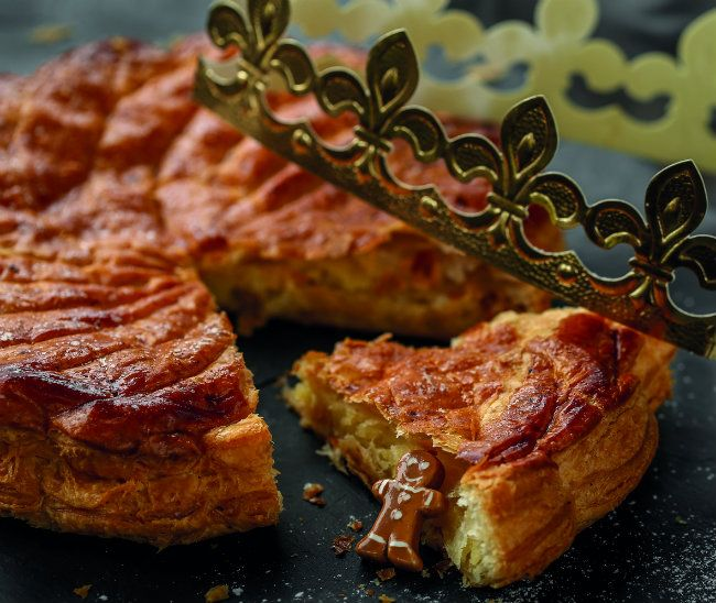 Named for the Three Magi, the galette des rois (kings' cake) traditionally appears in French bakeries in January-- around the feast of the Epiphany.