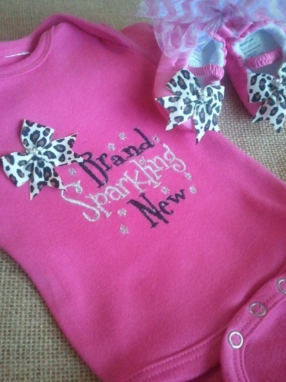 New baby girl onesie and shoes Shower gift by PettiLittleFrills, $29.00 if I ever have a baby girl I want this outfit to bring her home in! Brand Sparkling New :)