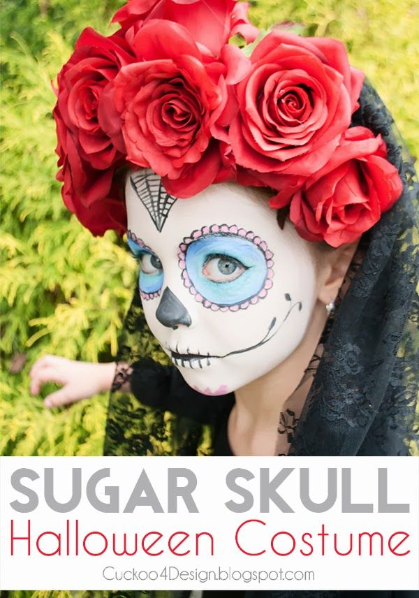Kids DIY Sugar Skull Halloween Costume - Day of the Dead costume | Dia de Los Muertos | sugar skull | Kids halloween costume | Homemade costume | cheap costume for kids