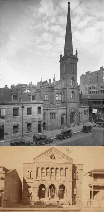 St George's Church on Phillip St,Sydney.The first photo is in 1929,the second photo is from 1870s.The Church was demolished to make  way for the extention of Martin Place to MacQuarie St in the 1930s.A♥W