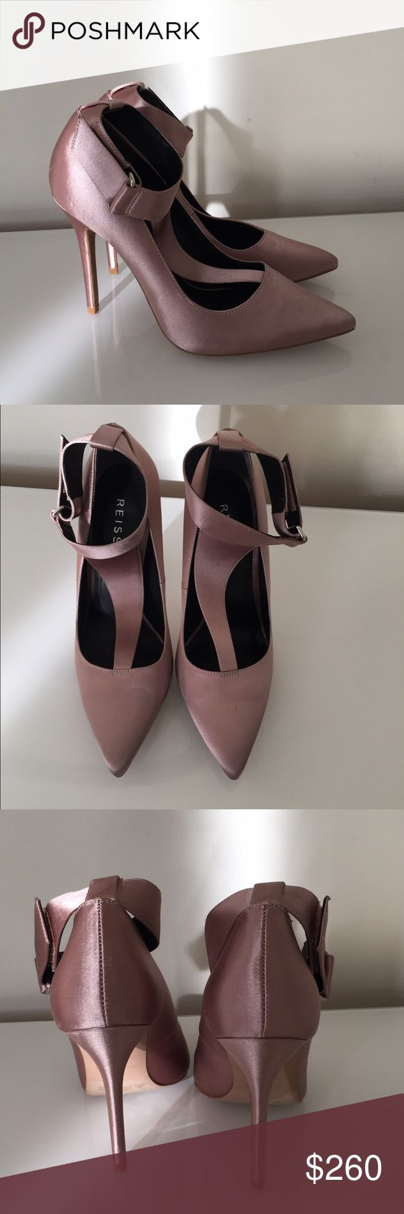 NEW REISS Blush Satin T-Strap Pumps 38 New without box. REISS satin t-strap pumps in blush color. Pointy toe. Hidden velcro at ankle strap for fit. Reiss Shoes Heels