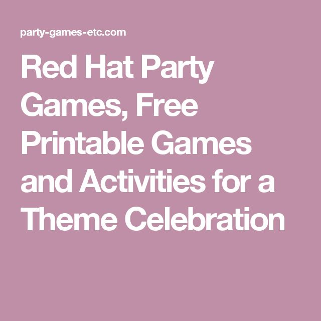 Red Hat Party Games, Free Printable Games and Activities for a Theme Celebration