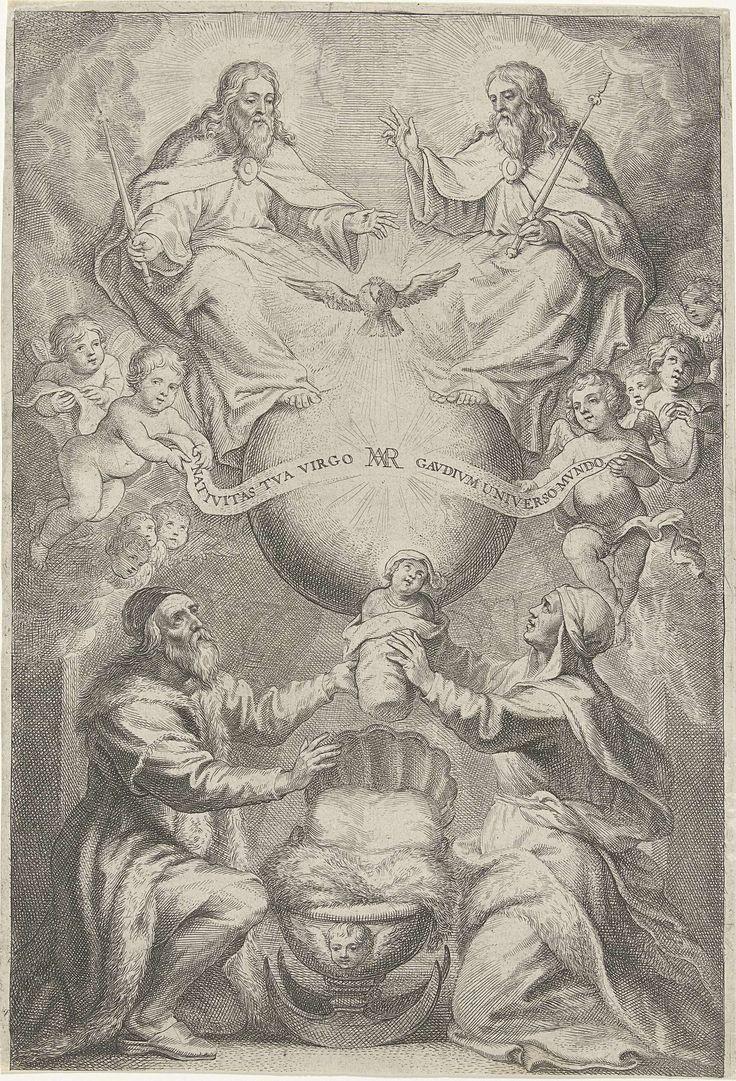 Philip Fruytiers   Opdracht van de heilige Maagd Maria, Philip Fruytiers, 1620 - 1666   Aan weerszijden van een kribbe zitten de ouders van Maria, Joachim en Anna, geknield. Samen houden ze het kind Maria in de lucht om haar op te dragen aan de tempel en haar te vervullen met de Heilige Geest die boven haar in de vorm van een duif vliegt. Vervuld met de Heilige Geest zou Maria, vanaf haar Onbevlekte Ontvangenis, geheel aan de Heer zijn toegewijd. De duif wordt links en rechts geflankeerd…