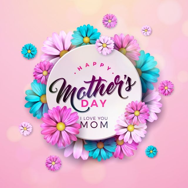 Happy Mothers Day Greeting Card Design With Flower And Typographic Elements On Pink Background Vector Celebration Illustration Template For Banner Flyer Invita Happy Mother S Day Greetings Mother S Day Greeting Cards Greeting