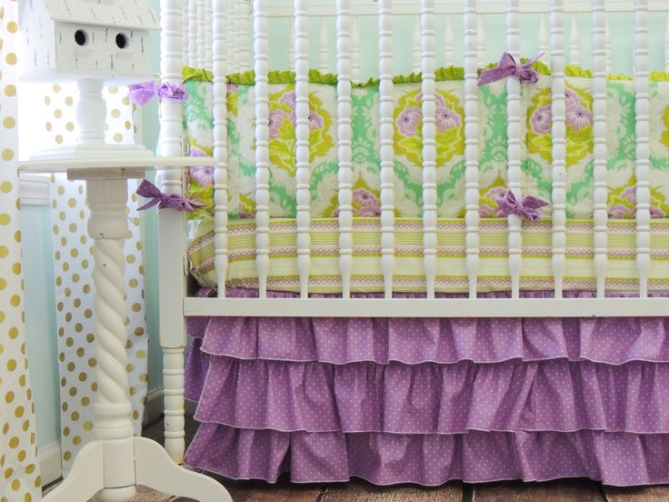 We love this pop of purple in a nursery! {Beautiful crib bedding from @Tushies And Tantrums} #nursery #crib #bedding: Grey Boutiques, Emerald Green, Baby Gill, Cribs Sets, Emeralds Green, Radiant Orchids, Girls Nurseries, Boutiques Cribset, Baby Nurseries