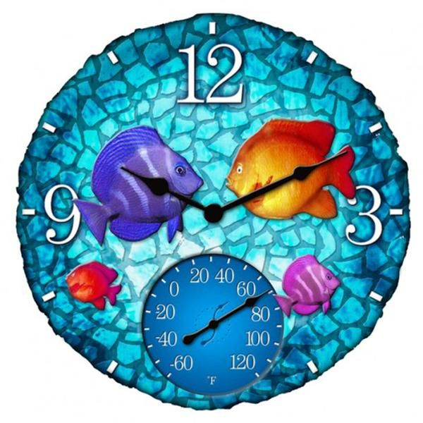 """Take the tropics home to your patio with this clock/thermometer combo. Its richly detailed 14"""" polyresin face will instantly infuse your indoor or outdoor décor with a colorful vitality, conjuring fanciful images of the brightest reefs the world over. 14"""""""" polyresin clock & thermometer combo Temperature range -60° to 120° F Fade and weather resistant Great for indoor or outdoor use Quartz time movement Requires 1 AA battery (not included) Employs a fade and weat..."""