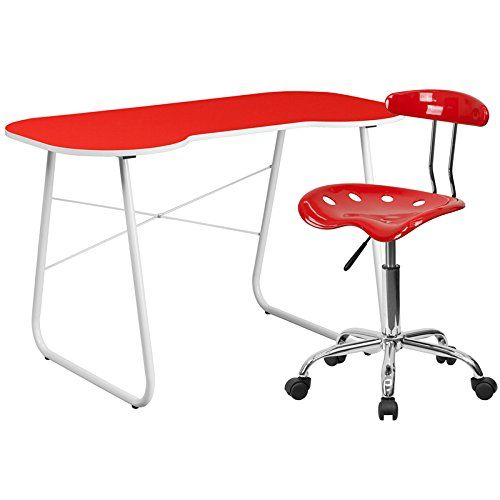 Flash Furniture Computer Desk and Tractor Chair, Red. Offers ample space for writing, reading, homework or browsing on your laptop. Offers space for you to pull your chair close up to the desk surface. This colorful combination will offer a comfortable and contemporary setting.