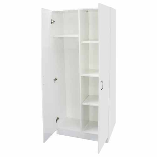 NOUVEAU Broom Cupboard White SKU# 181231  EXCLUSIVE TO MITRE 10  4 shelves. Full PVC edging. H: 1810mm, W: 795mm, D: 410mm.  Ready to assemble  2 year warranty.