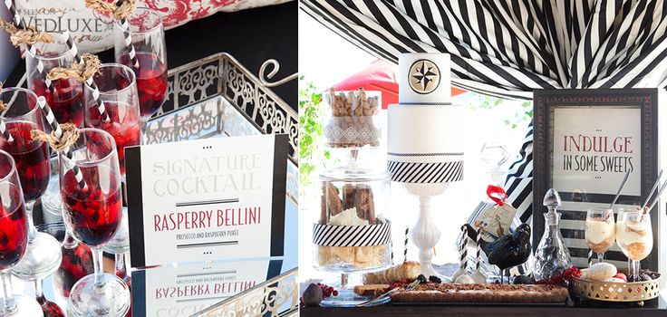 Signature drink menus and dessert sign for this nautical themed wedding photo shoot. #menu #signage #wedding #wedluxe #nautical #design #stripes #weddingstationery