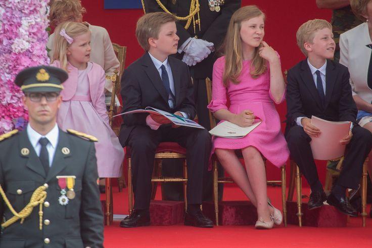 Prince Gabriel of Belgium Photos Photos - Princess Eleonore, Prince Emmanuel, Princess Elisabeth, Prince Gabriel of Belgium during the National Day Parade on July 21, 2015 in Brussel, Belgium. - Royals Celebrate the National Day of Belgium 2015