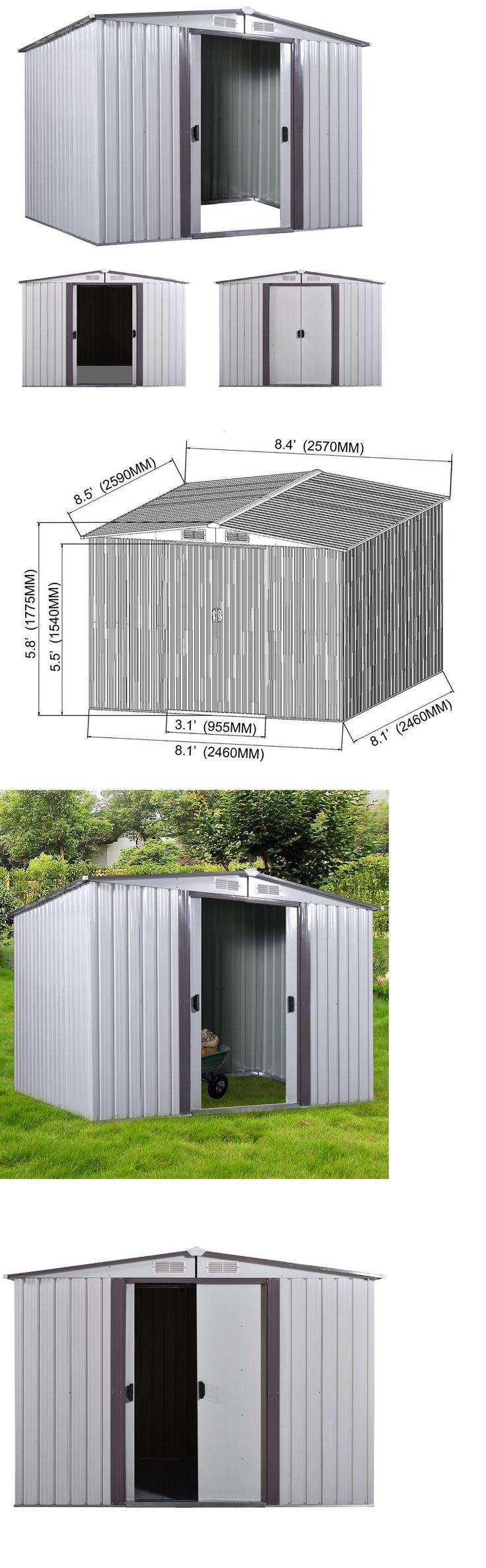 Garden and Storage Sheds 139956: 8 X 8 Shed Storage Kit Metal Garden Building Doors Steel Outdoor Diy Backyard -> BUY IT NOW ONLY: $339.99 on eBay!