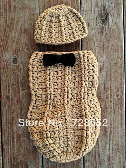 Free shipping peanut handmade crochet photography props newborn baby sleeping bag