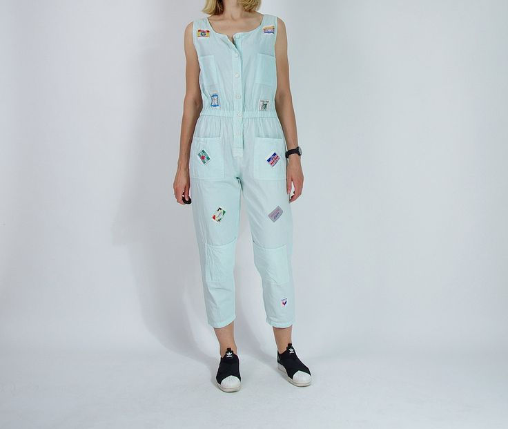20% OFF SALE - 80s Style & Smile New York Patched Light Mint Street Style Women Jumpsuit / Size M by Only1Copy on Etsy