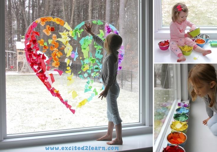 Rainbow Heart Craft --window art for Valentine's Day