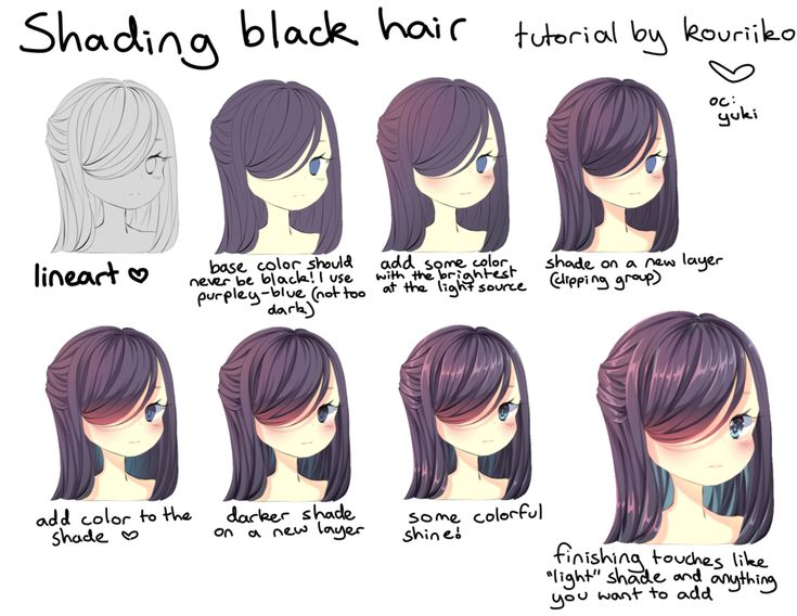 shading black hair by kouriiko