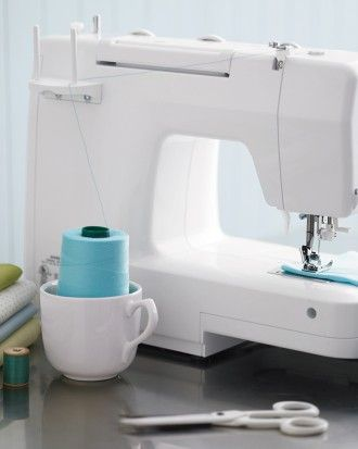 Sewing Hacks: Martha Stewart recommends buying the larger spools of thread and then placing the spool in a tea cup so you can use the thread as-is. This is a great way to save money (large spools are more for your money) and save time (no more switching thread all the time)!