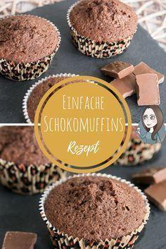 einfache Schokomuffins Rezept schnell Grundrezept Schokolade Muffin - schmeckt auch mit Apfel, Birne, Schokostücken, Haselnüssen...