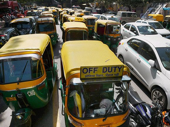 Autos and taxis parked at Jantar Mantar  during their drivers protest