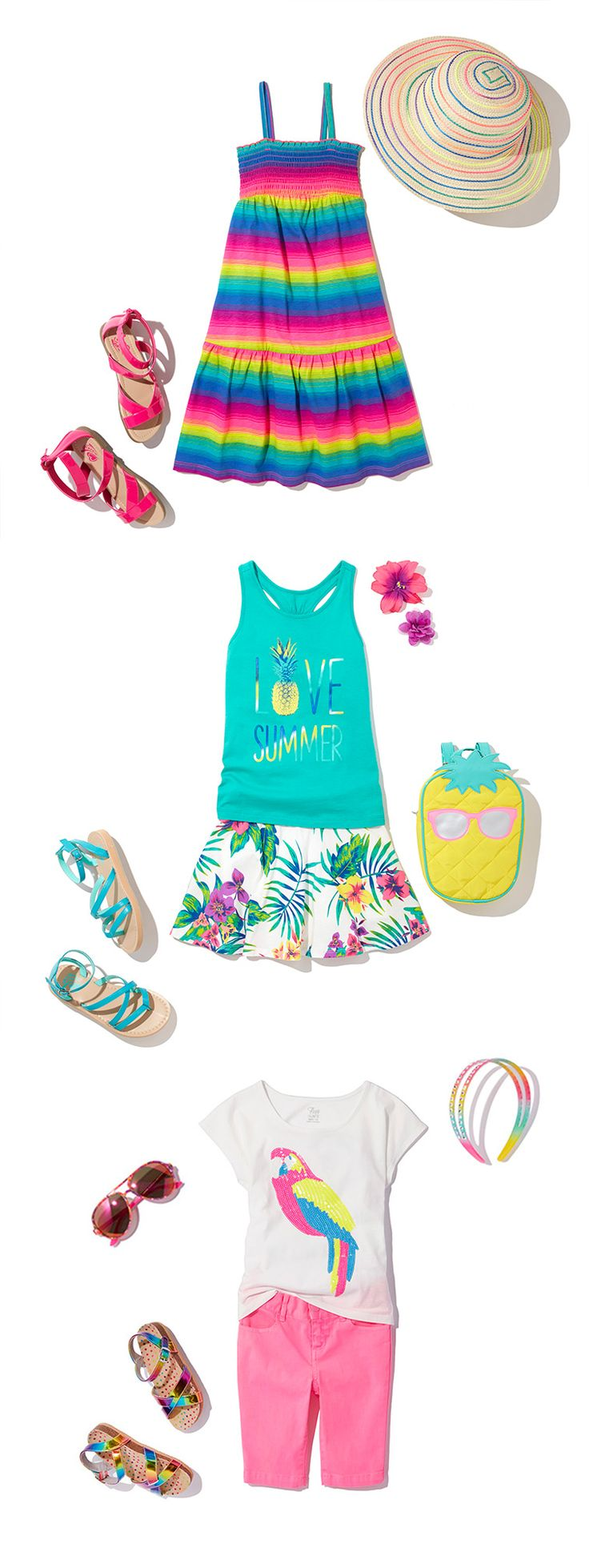 Girls Clothing   Kids' Outfits   Rainbow Dress   Rainbow Hat   Graphic Tanktop   Graphic Tee   Skimmer Shorts   Printed Shorts   Sandals   Sunglasses   Vacation   The Children's Place