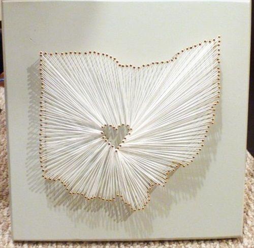 10 Wedding DIYS / #9. DIY State Art (via The Harpster Home)Nails Art, Crafts Ideas, Diy Tutorials, Pin Art, Fun Ideas, String Art, Art Tutorials, Amazing Nails, Nails String