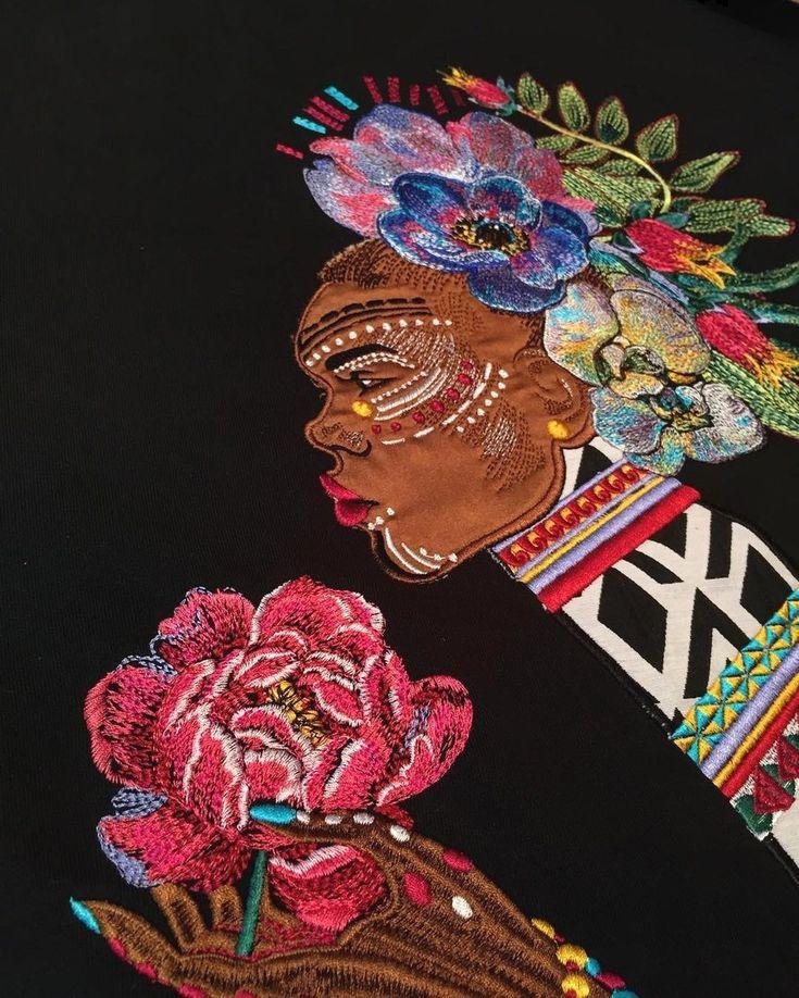 Sweatshirt from Katya Dobryakova SS18 collection. #sweatshirt #africa #katyadobryakova #lookbook #ss18 #summer #spring #катядобрякова #лето #весна #новаяколлекция #африка #ornament #орнамент #embroidery #girl #flowers