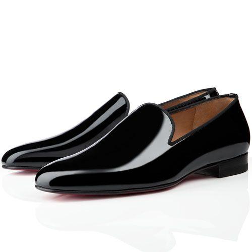 Christian Louboutin Henri Mens Flat Patent Leather Sneakers Black