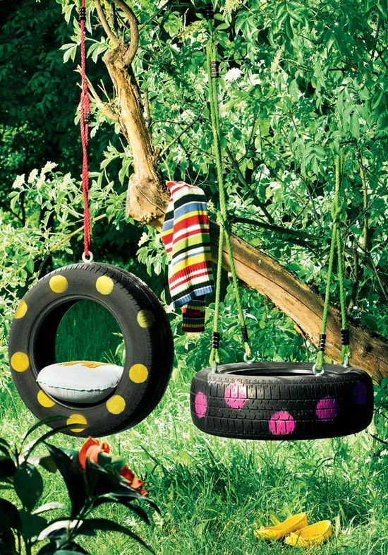 Use old tires and paint them in any color you want - 10 DIY Adorable Tree Swings