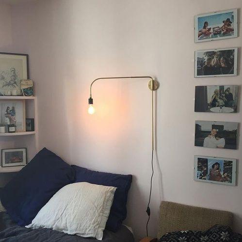 La chambre, lit, lumières, lampes de la Parisienne Jeanne Damas
