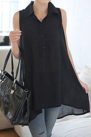 Άνετο, ανάλαφρο τοπ ριχτό με κουμπάκια και γιακά φτιαγμένο από μουσελίνα. Διάθεση σε μαύρο χρώμα.