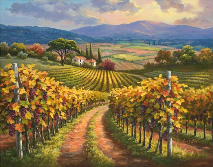 """""""Vineyard Hill"""" ~ Sung Kim _____________________________ Reposted by Dr. Veronica Lee, DNP (Depew/Buffalo, NY, US)"""