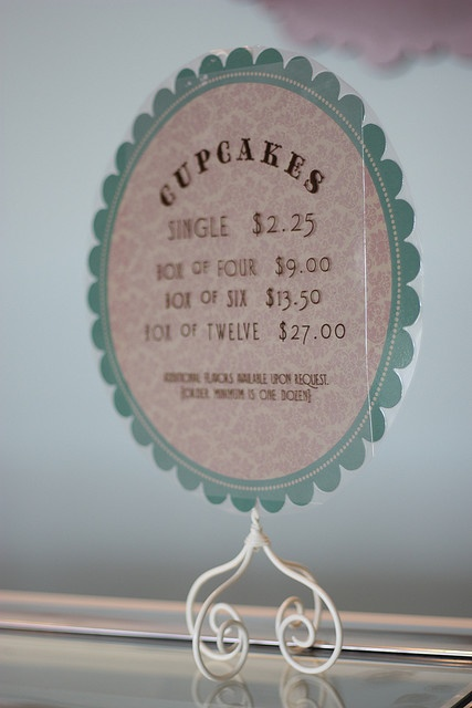 Cupcake Price Sign by projectdomesticationblog, via Flickr