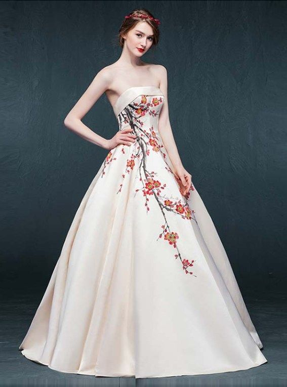 Hand Painted Red Floral Asian Inspired Ivory Satin Strapless