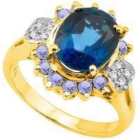 LOVELY !  3.23 CARAT LONDON BLUE TOPAZ & 2/5 CARAT (12 PCS) TANZANITE 10KT SOLID GOLD RING