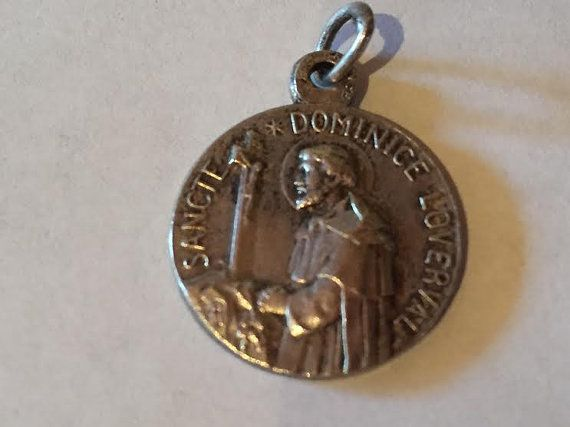 Saint DOMINIC & Our Lady of Rosary Vintage Religious Medal Pendant on 18 inch sterling silver rolo chain