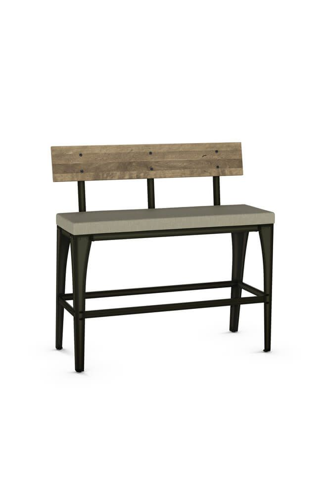Buy Amisco S Architect Industrial Counter Height Bench With Back And Cushion Counter Height Bench Table With Bench Seat Bar Bench