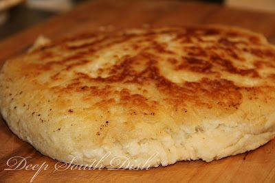 Old Fashioned Biscuit Bread - A quick biscuit bread, sometimes called hoecake bread, fried in bacon drippings in a screaming hot, cast iron skillet on top of the stove.