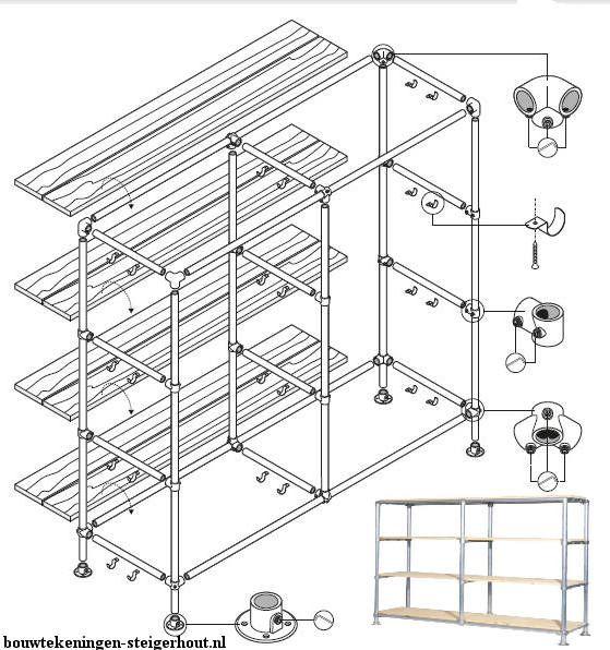 Doe het zelf wandmeubel on van steigerbuizen en steigerplanken te maken. Gratis doe het zelf bouwtekening voor een steigerbuis wandkast, maten 180x210x40cm.
