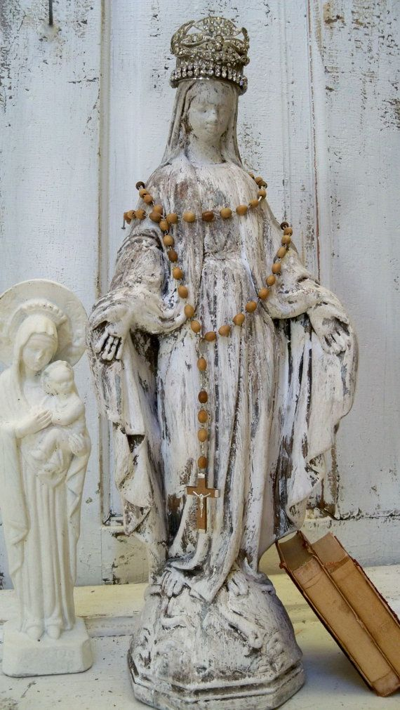 Virgin Mary Cement Statue With Hand Made Crown Shabby Chic