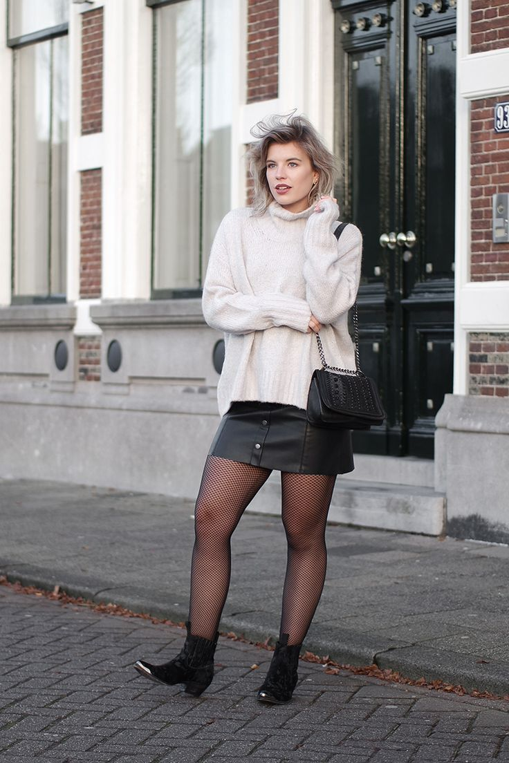 @redreidinghood www.redreidinghood Fashion blogger wearing fishnet tights leather button down skirt outfit sendra boots