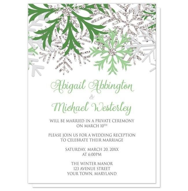 I wanted to share with you these Winter Snowflake Green Silver Reception Only Invitations? Do you like them?  | Frosty green Reception Only invitations for your Winter post-wedding reception celebration. Winter Wedding Reception Only Invitations and optional matching RSVP reply cards, designed with light green, light gray, and silver glitter-illustrated snowflakes over white. Your post-wedding reception details are printed in green and gray over the white. The names are printed in a green…
