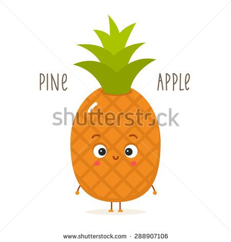 Cartoon pineapple with eyes. Flat fruits isolated on white - stock vector