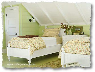 I wonder if we could build a little closet like this under our eaves? I like the white ceiling and green walls.