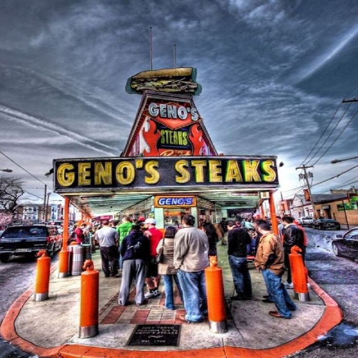 Genos or Pats? In South Philadelphia at the intersection of 9th Street and Passyunk Ave youre guaranteed to get a good Philly Cheesesteak. According to owner Joey Vento the name 'Geno's' was chosen because 'Joe's Steak Place' was taken. He improvised the name from a broken door on which someone had painted 'GINO'. Directly Across the Street is Pats King of Steaks who has been accredited to inventing the sandwich. So who has the better sandwich? #theurbanscape #urbanscape #philadelphia…