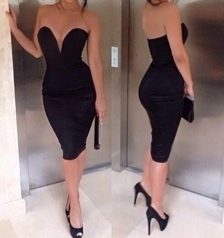 $12.91 Sexy Plunging Neck Backless Strapless Slit Back Design Dress For Women