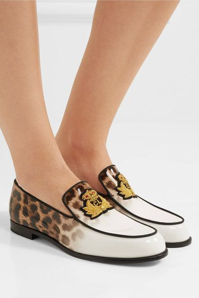 Slight heel Leopard-print and white patent-leather Slip on Made in Italy