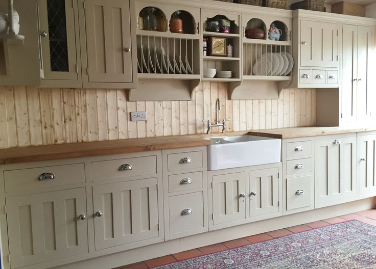 Custom made reclaimed pine painted kitchen, in Farrow & Ball 'Oxford stone' & chrome handles.