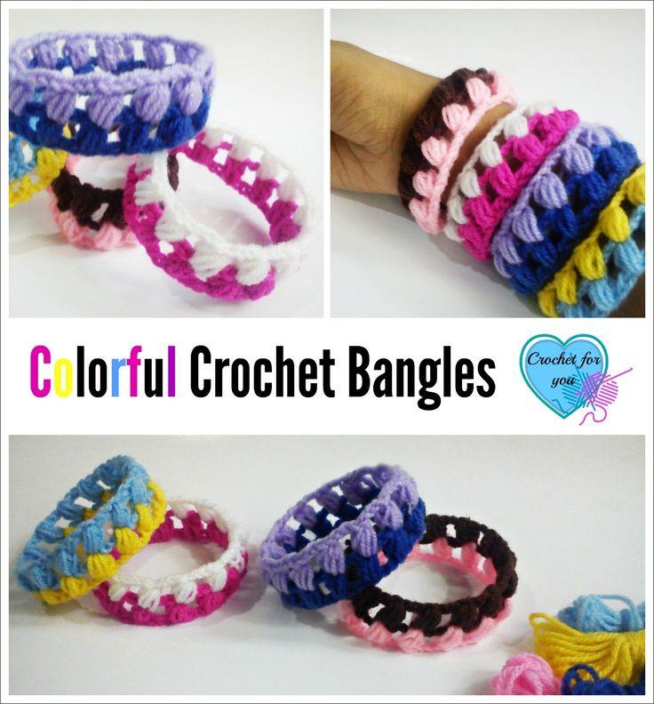 Crochet Colorful Crochet Bangles - free pattern
